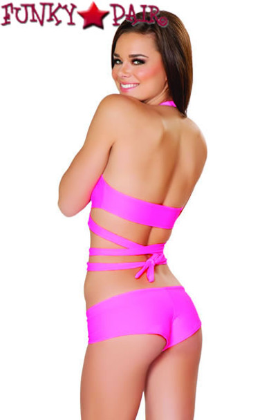 J Valentine | SF131, Halter and Short Set color hot pink back view