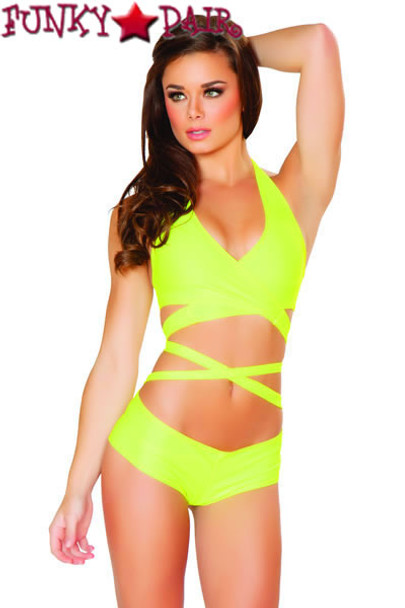 J Valentine | SF131, Halter and Short Set color Neon Yellow