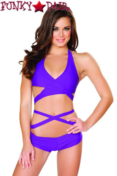 J Valentine | SF131, Halter and Short Set color purple