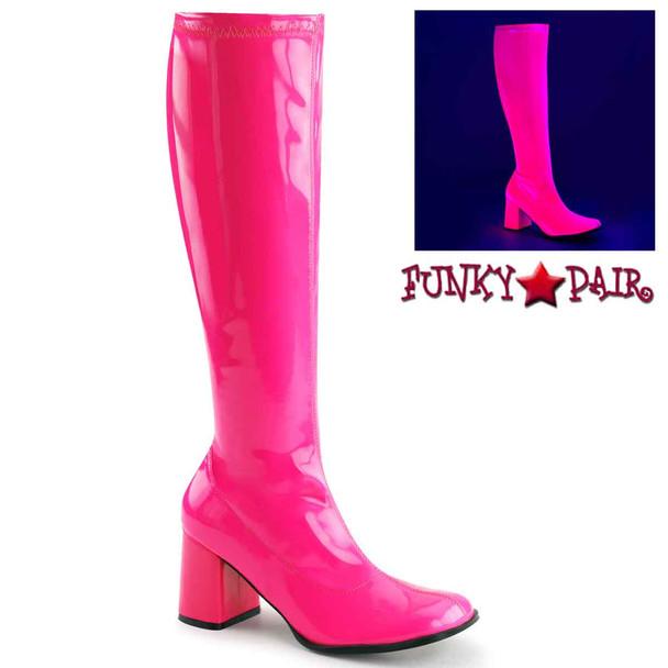 HOT Pink Bright UV Neon Go Go Boots | Funtasma GOGO-300UV