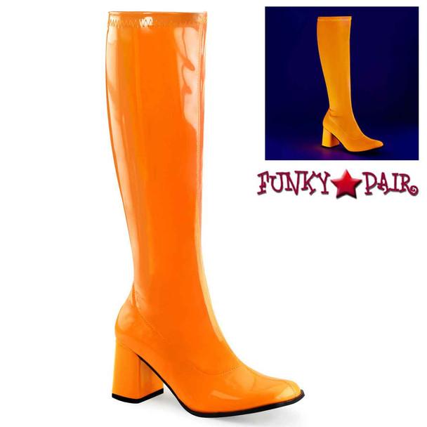 Orange Bright UV Neon Go Go Boots | Funtasma GOGO-300UV