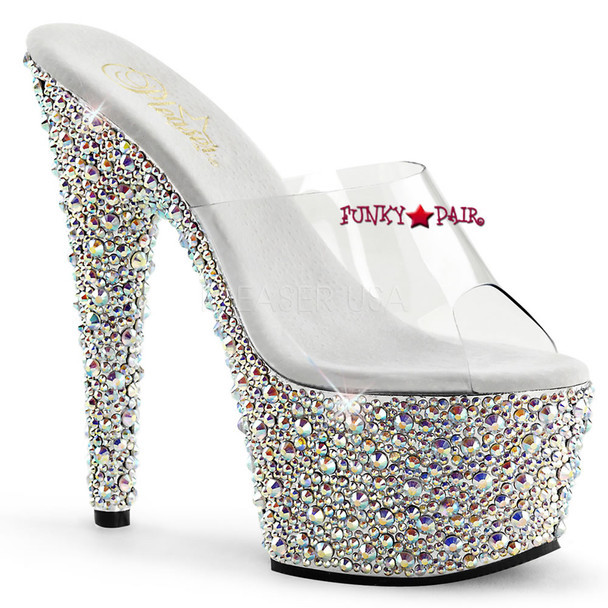 Stripper Shoes Bejeweled-701MS, 7 Inch Heel with Multi-Rhinestones Slides