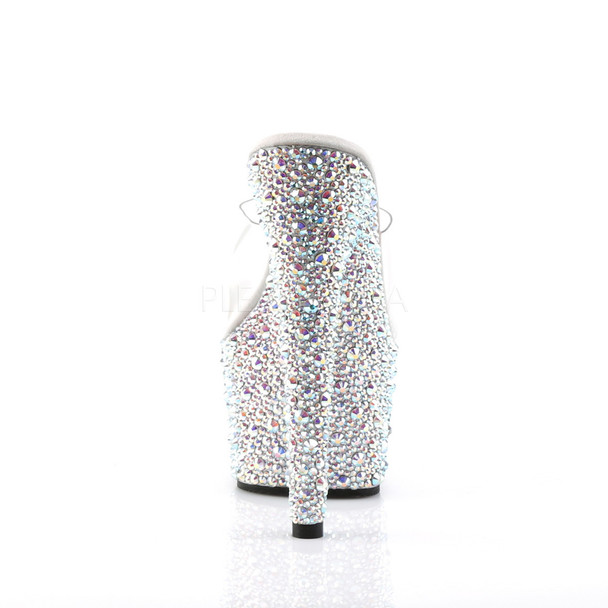 Pleaser Shoes | Bejeweled-701MS, Multi-Rhinestones Platform Slides back view