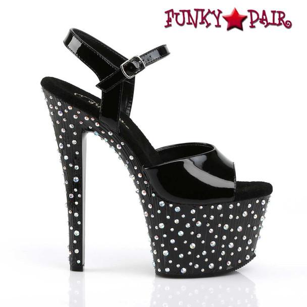 Pleaser | Stardance-709, Multi-Size Rhinestones Ankle Strap Sandal