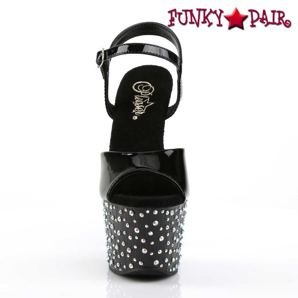 Stardance-709, Multi-Size Rhinestones Ankle Strap Sandal front view