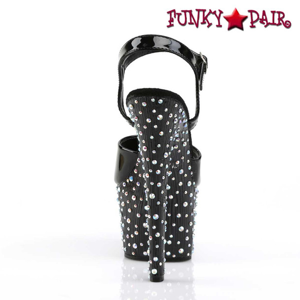 Stardance-709, Multi-Size Rhinestones Ankle Strap Sandal back view Pleaser Shoes