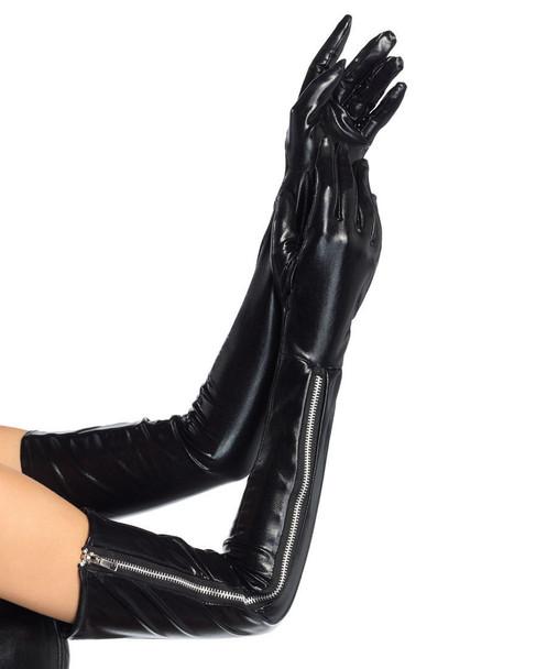 LA-2667, Wet Look Zipper Gloves