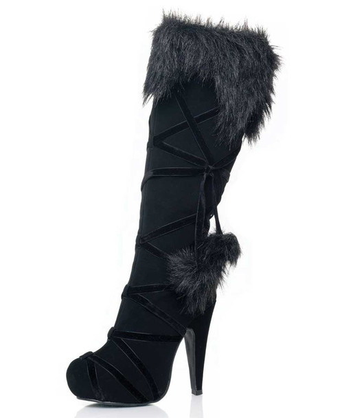 LA-5038-Warrior Knee High Boots with Pom Pom Costume Boots