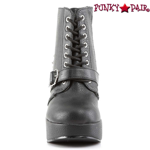 Women's Demonia BRAVO-23, Ankle Boots with Spikes Front View