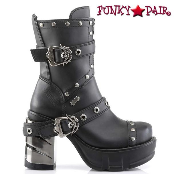 Demonia SINISTER-201, Chunky Chrome Heel Strap Studded Ankle Boot