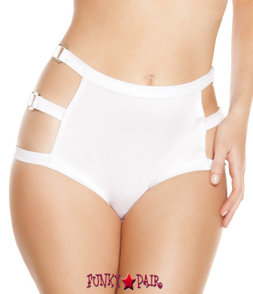 White SH3194 - High Waisted Shorts with Triple Strap