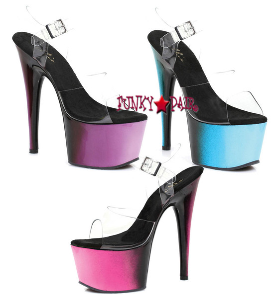 7 inch stiletto heel ankle strap platform sandal with ombre design (Made in USA)