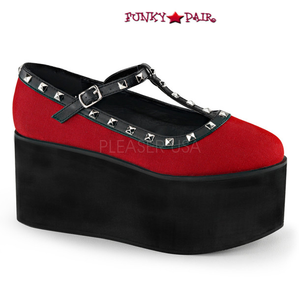 Demonia | Click-07. 3.25 Inch Two Tone T-Strap Maryjane with Studs Color: Red Canvas-Blk V.Le