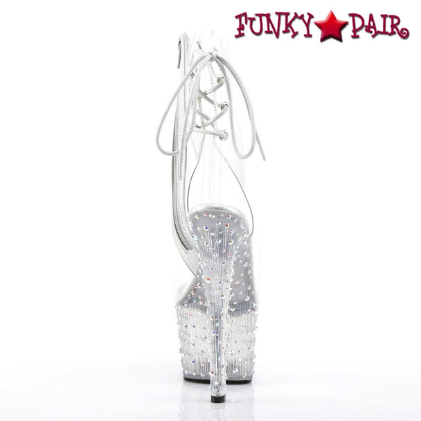 Pleaser | Stardance-1018C-7, Clear Ankle Boots with Rhinestones Platform back view