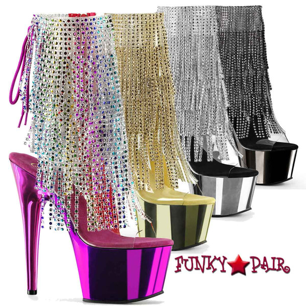 Pleaser } Adore-1017RSF, 7 Inch High Heel Open Toe with Colorful Fringe Boots
