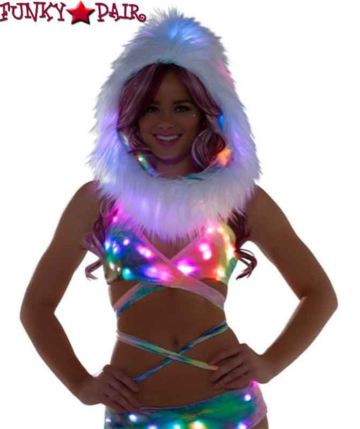 FF466, Rave Light Wrap Halter Top color tie dye with light