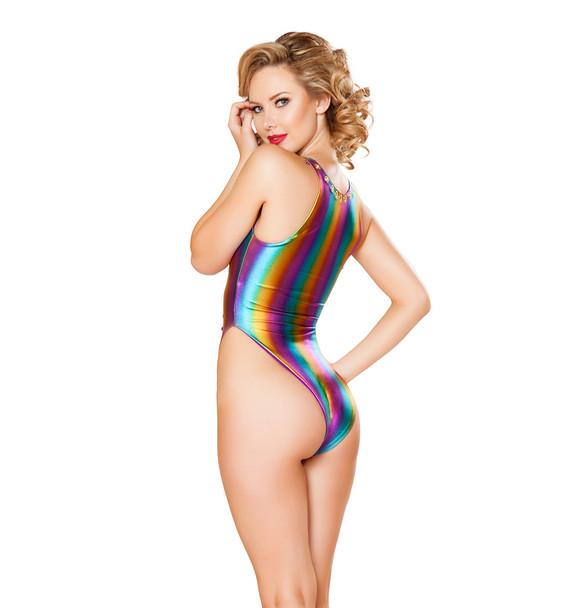 Rave Foiled Denim Lace-up Bodysuit | JV FF412Color Rainbow Denim back view