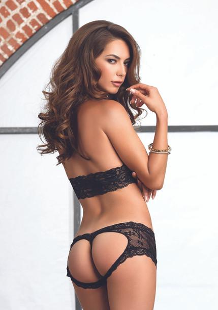 LA81504 Lace halter bra and G-string booty short color black back view