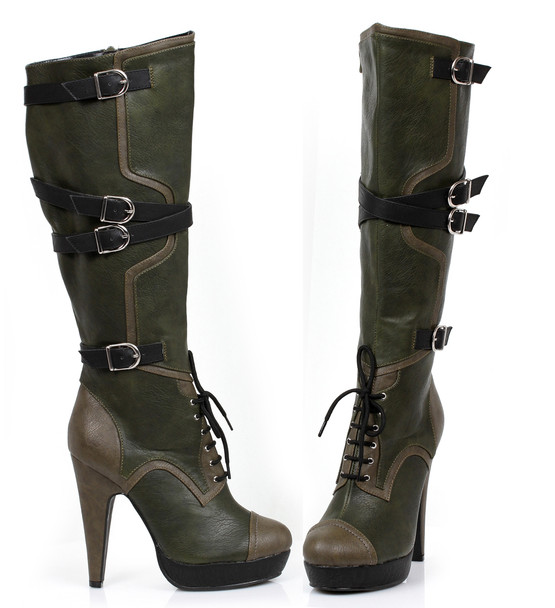 426-Combat, 4 Inch Knee High Boots with Criss-Cross Buckles Accent