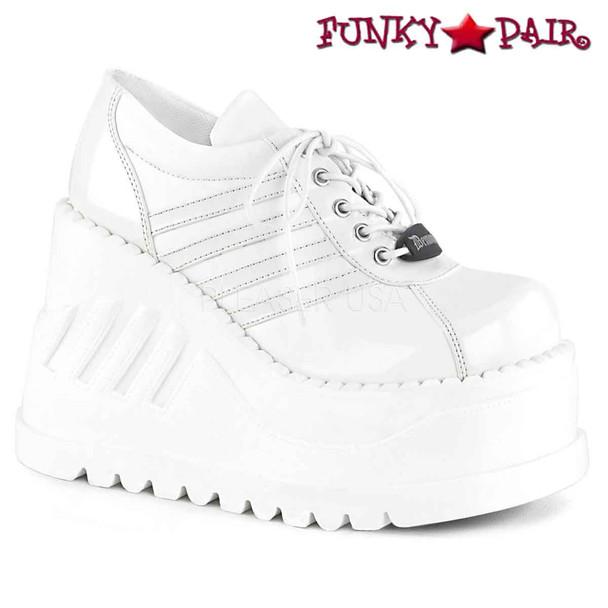 Stomp-08, White Platform Sneaker Shoes Demonia Women Shoes