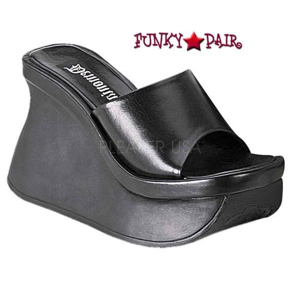 Pace-01, Platform Wedged Sandals color black faux leather Brand Demonia Shoes