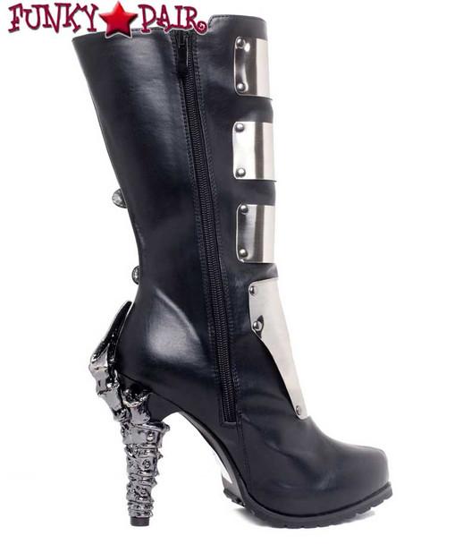 SteamPunk Knee High Biker Boots | Hades VARGA Color: Black side view