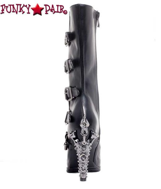 SteamPunk Knee High Biker Boots | Hades VARGA Color: Black back view