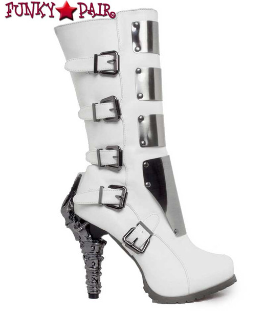 SteamPunk Knee High Biker Boots | Hades VARGA Color: White  side view
