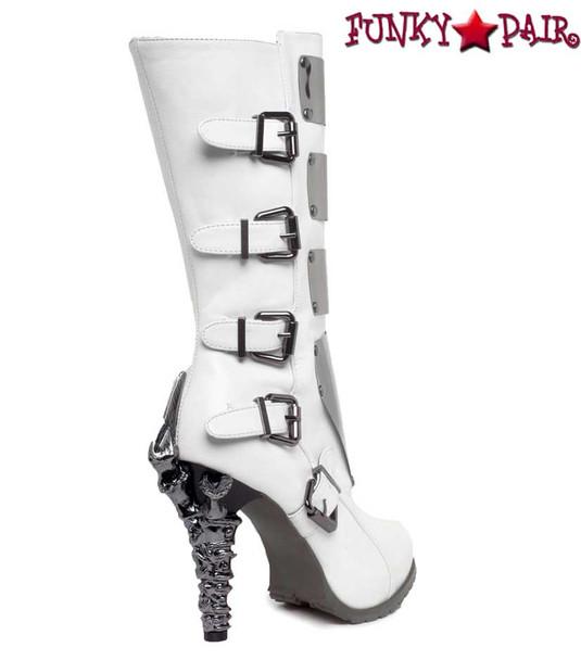 SteamPunk Knee High Biker Boots | Hades VARGA Color: White back side view