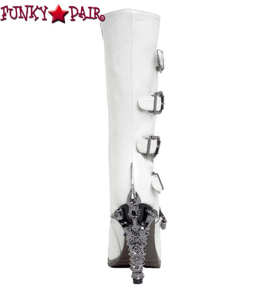 SteamPunk Knee High Biker Boots | Hades VARGA Color: White back view