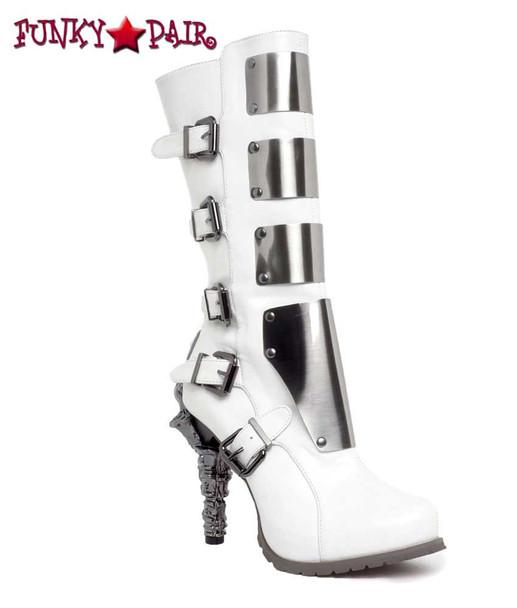 SteamPunk Knee High Biker Boots | Hades VARGA Color: White
