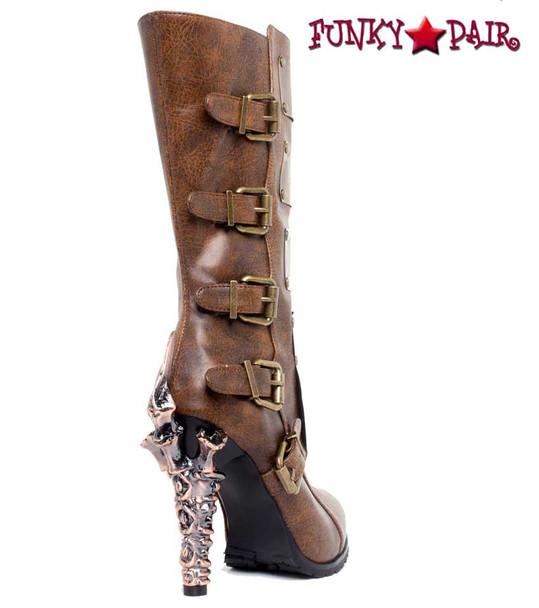 SteamPunk Knee High Biker Boots | Hades VARGA Color: Brown back side view
