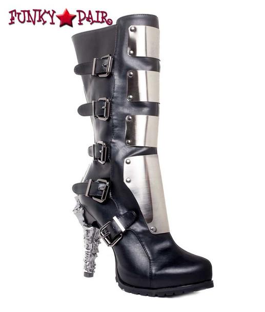SteamPunk Knee High Biker Boots | Hades VARGA Color: Black front side view