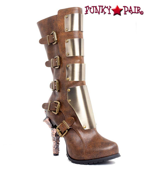 SteamPunk Knee High Biker Boots | Hades VARGA Color: Brown front side view