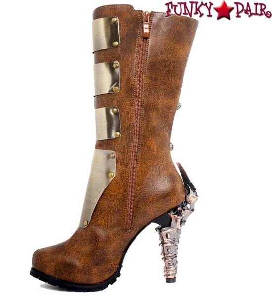SteamPunk Knee High Biker Boots | Hades VARGA Color: Brown zipper side view