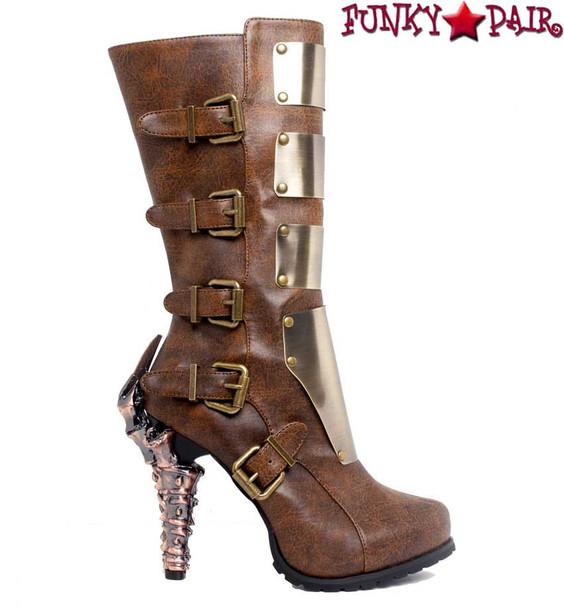 SteamPunk Knee High Biker Boots | Hades VARGA Color: Brown side view