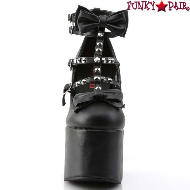 Torment-600, Block Heel T-strap Platform by Demonia Front View