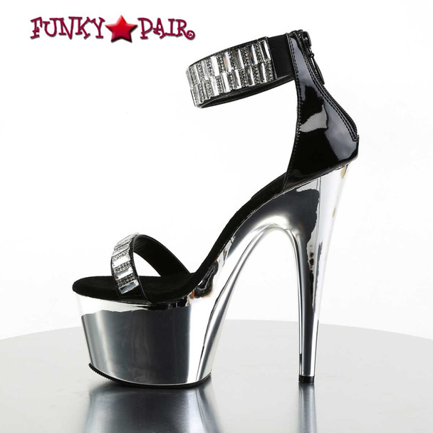 Adore-769RS, Ankle Cuff with Rhinestones Sandal | Pleaser Shoes Side View