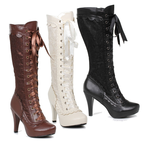 4 inch heel lace-up knee high boots with lace overlay