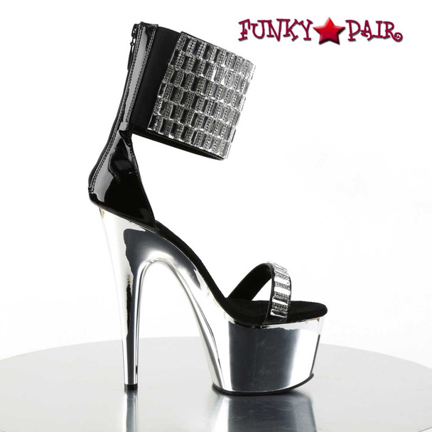 Adore-789RS, Rhinestones and Mirror Wide Ankle Cuff Sandal | Pleaser Shoes Side View