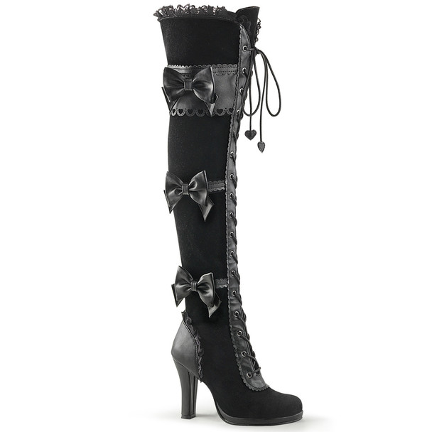 Glam-300, 3.75 Inch Platform Goth Lolita Over The Knee Boots by Funtasma