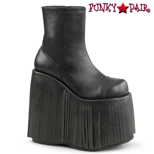 Slay-205, Black Fringe Platform Ankle Boots by Demonia