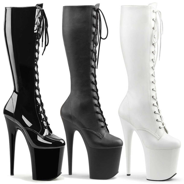 Exotic Dancer Lace Up Knee High Boots | Pleaser Flamingo-2023