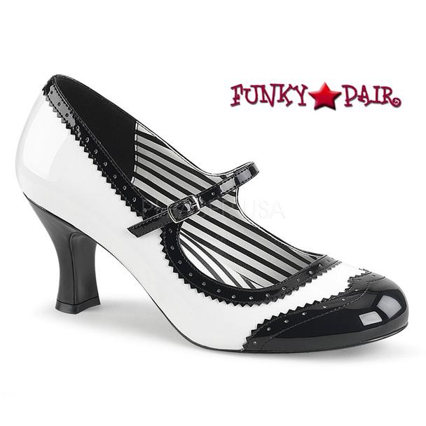 Pink Label | Jenna-06, Spectator Maryjane Pump Size 9-16 white