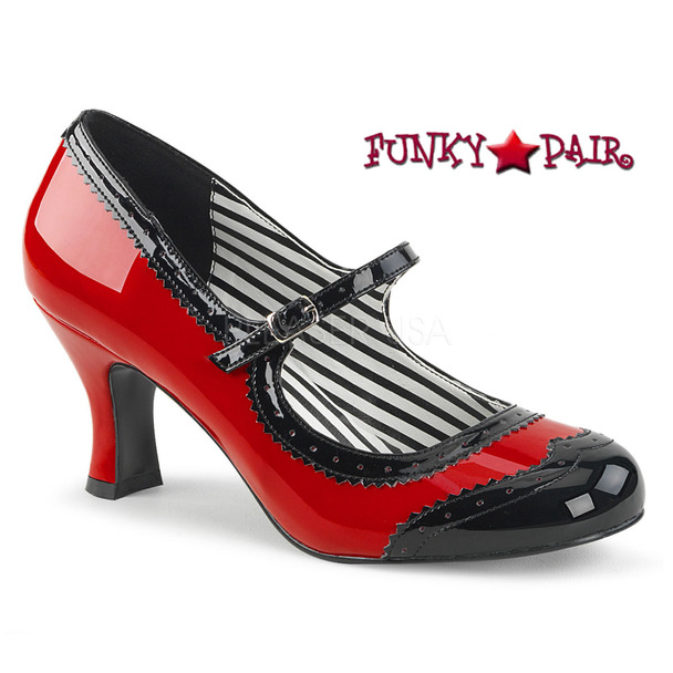 Pink Label | Jenna-06, Spectator Maryjane Pump Size 9-16 red