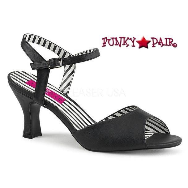 Jenna-09 Womens 3 Inch Sandal Large Size 9-16 black faux leather