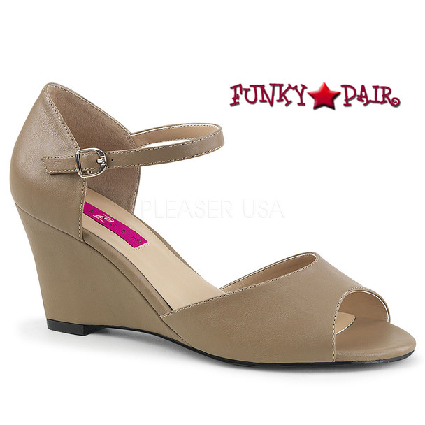 Pink Label | Kimberly-05, Wedge Ankle Strap Sandal Size 9-16 cream