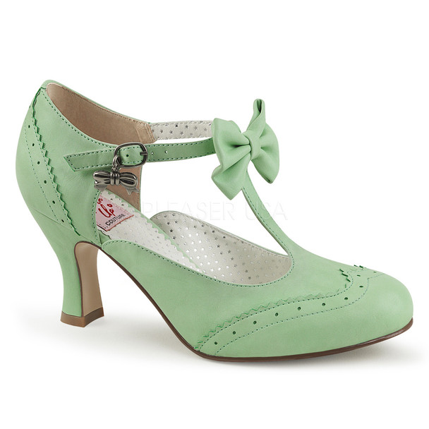 Flapper-11, 3 Inch Kitten Heel T-strap with Bow