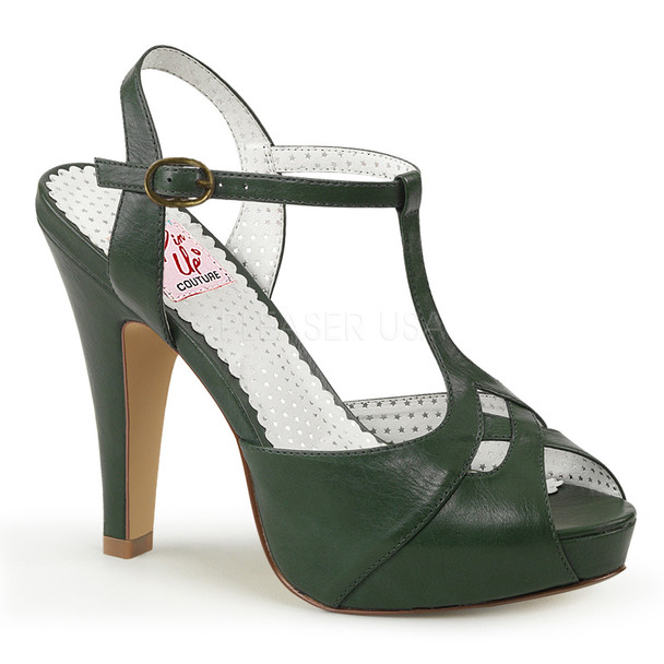 Green Bettie-23, Peep Toe T-Strap Sandal Pin-Up Couture Shoes