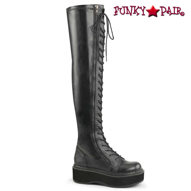 Emily-375, Goth Punk Thigh High Boots Black Faux Leather by Demonia